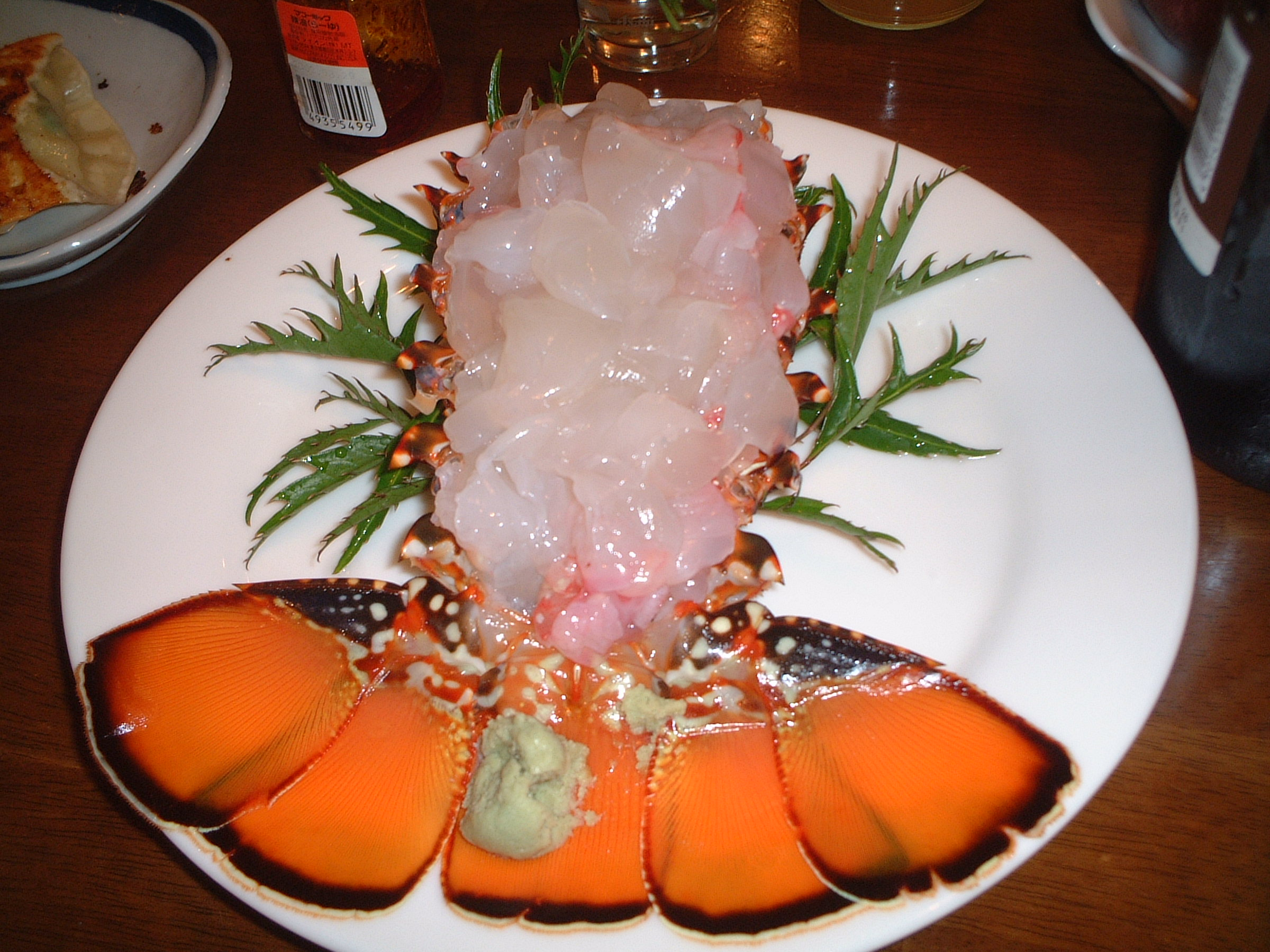 Sashimi lobster served at Hahajima minshiku